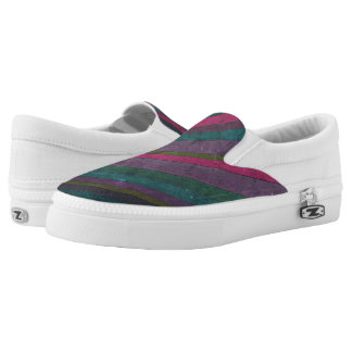 Colorful Rustic Faux Wood Pink Teal Purple Vibrant Slip-On Sneakers