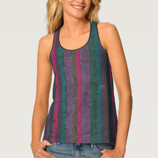 Colorful Rustic Faux Wood Pink Teal Purple Vibrant Tank Top