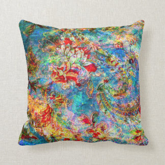 Colorful Rustic Flower Digital Collage 2 Pillow