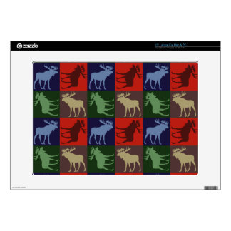 """Colorful rustic moose four square design decals for 15"""" laptops"""