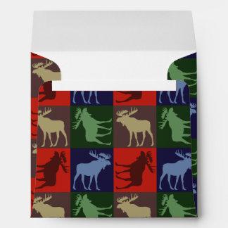 Colorful rustic moose four square envelopes