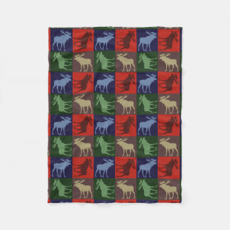 Colorful rustic moose four square fleece blanket