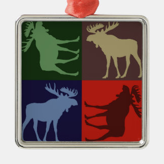 Colorful rustic moose four square ornament