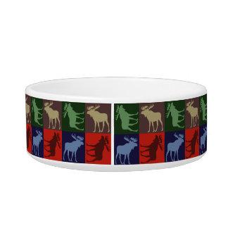Colorful rustic moose four square pet bowl
