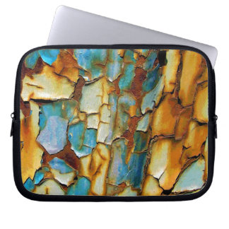 Colorful rusty old paint computer sleeve