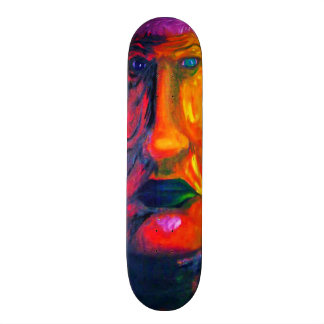 Colorful Sad Surreal Green Lips Two-Face Oil Paint Skateboard