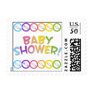 Colorful Safety Pin Baby Shower Postage