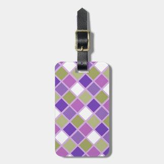 Colorful Sage Green Lavender Purple Tiles Designer Bag Tag