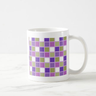 Colorful Sage Green Lavender Purple Tiles Designer Coffee Mug