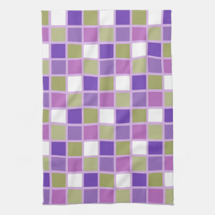 Colorful Sage Green Lavender Purple Tiles Designer Kitchen Towel