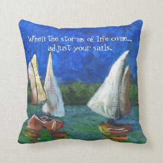 COLORFUL SAIL BOATS TOSS PILLOW