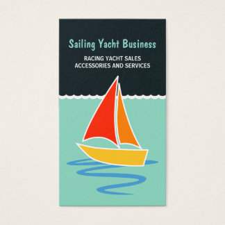 Colorful Sail Yacht Sailing Boat Vertical Boating Business Card