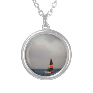 Colorful Sailboat Silver Plated Necklace