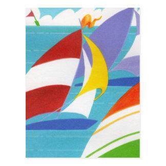 Colorful Sailboats Postcard