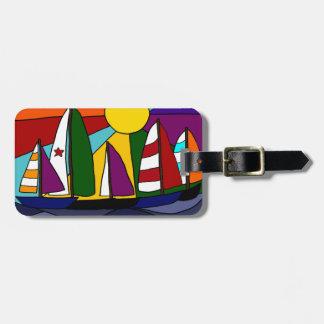 Colorful Sailing Rainbow Art  Design Bag Tag