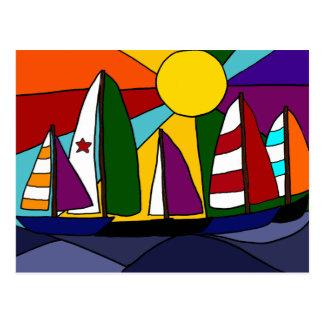 Colorful Sailing Rainbow Art  Design Postcard