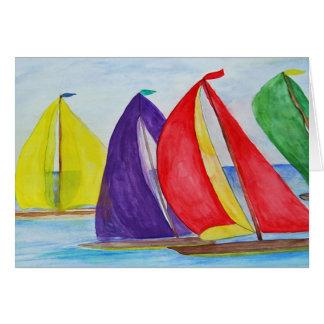 Colorful Sails sailboat nautical greeting card