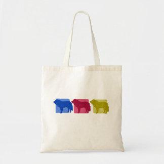 Colorful Saint Bernard Silhouettes Tote Bag