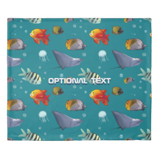 Colorful Saltwater Creatures Cartoon Duvet Cover