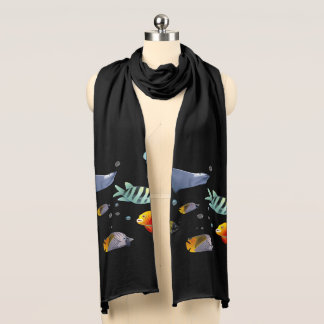 Colorful Saltwater Creatures Cartoon Scarf