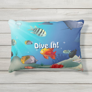 Colorful Saltwater Creatures Outdoor Pillow