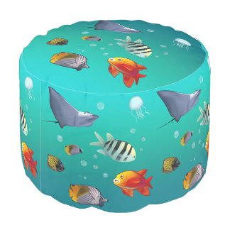Colorful Saltwater Creatures Pouf