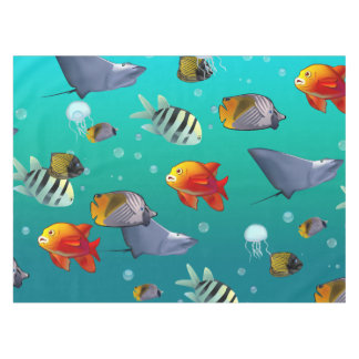 Colorful Saltwater Creatures Tablecloth