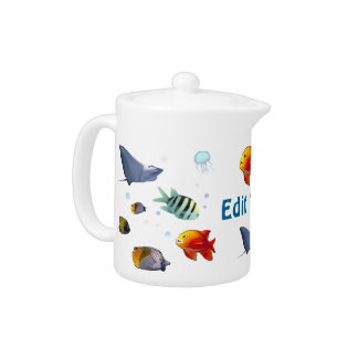 Colorful Saltwater Creatures Teapot