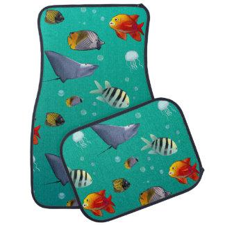 Colorful Saltwater Fish Illustration Car Floor Mat