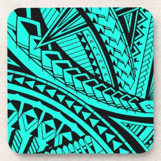 Colorful Samoan tattoo patterns Drink Coasters