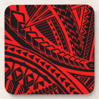 Colorful Samoan tattoo patterns Coasters