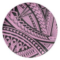 Colorful Samoan tattoo patterns Dinner Plate