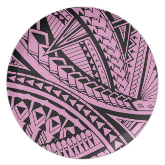 Colorful Samoan tattoo patterns Dinner Plate