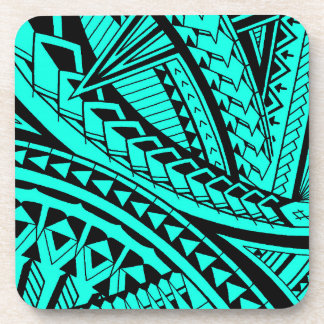 Colorful Samoan tattoo patterns Drink Coaster