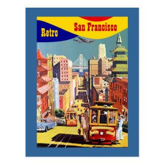 COLORFUL SAN FRANCISCO STYLIZED RETRO POSTCARD PC