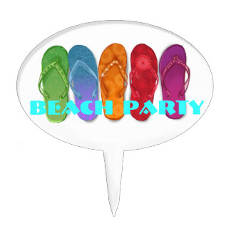Colorful Sandals Flip-flops beach party Cake Topper