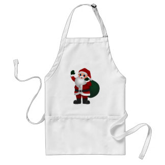 Colorful Santa Claus Holding Bag of Toys & Waving Adult Apron