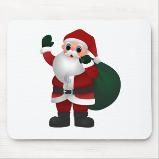 Colorful Santa Claus Holding Bag of Toys & Waving Mouse Pads