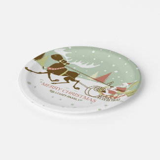 Colorful Santa & Reindeer Christmas Design Paper Plate