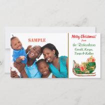 Colorful Santa Sleigh Holiday Card