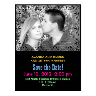 """Colorful """"save the Date"""" postcard"""