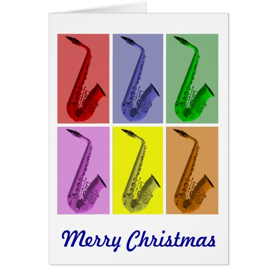 Colorful Saxophones  Merry Christmas Card