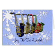 Colorful Saxophones Snow Flakes Christmas Card at Zazzle