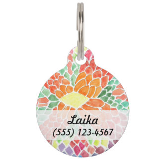 Colorful Scales - vivid abstract watercolor design Pet ID Tags