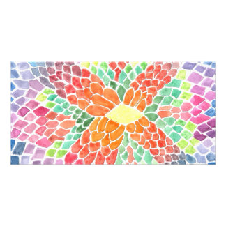 Colorful Scales - vivid abstract watercolor design Customized Photo Card