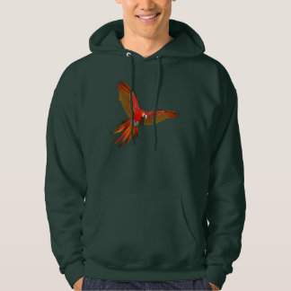 Colorful Scarlet macaw fly art Hooded Sweatshirt