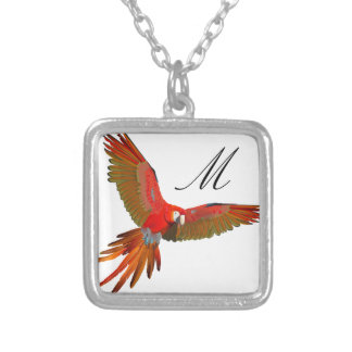Colorful Scarlet macaw fly art Necklaces
