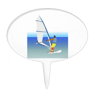 Colorful Scene of a Man Windsurfing on the Water Cake Topper