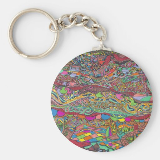 Colorful Scenery In mazes Line Key Chains