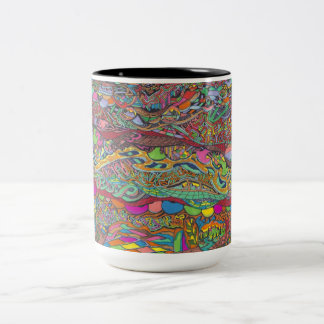 Colorful Scenery In Mazes Two-Tone Coffee Mug